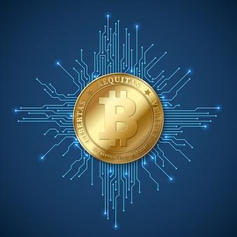 Bitcoin de moeda de criptografia. banca de rede e conceito de vetor de mineração de bitcoins