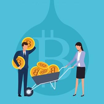 Bitcoin de negócios de criptomoeda