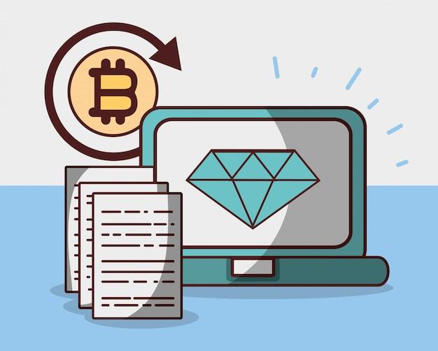 Bitcoin diamante criptomoeda laptop comércio dinheiro digital