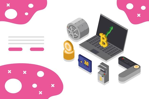 Bitcoin dinheiro laptop isométrico digital