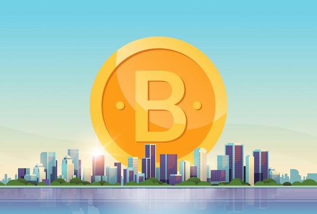 Bitcoin dinheiro virtual moeda de ouro