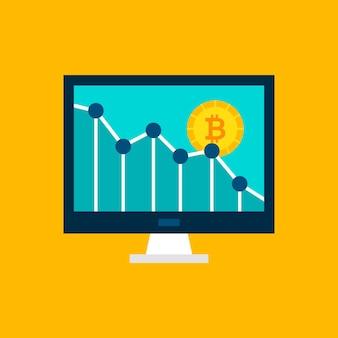 Bitcoin down graph. ilustração vetorial com estatísticas financeiras no display.