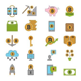 Bitcoin e outros símbolos da indústria de criptografia. mineração de moedas diferentes