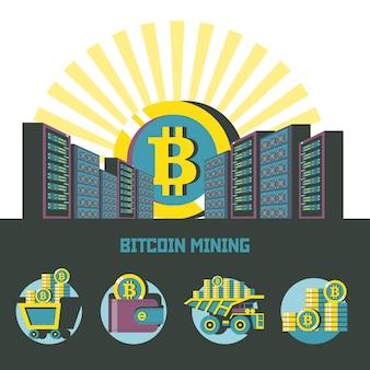 Bitcoin enquanto o sol nascente se ergue sobre os servidores. conjunto de emblemas. carrinho com bitcoins, carteira com bitcoins, pilha de moedas, caminhão basculante com bitcoins.