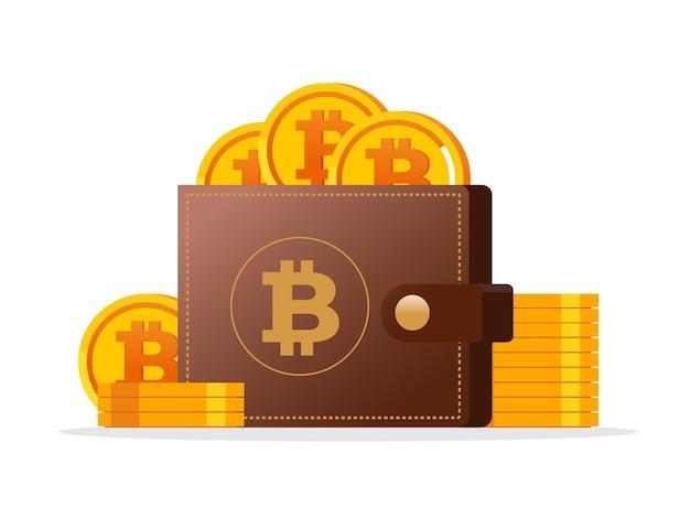 Bitcoin investindo banner de ilustração vetorial plana