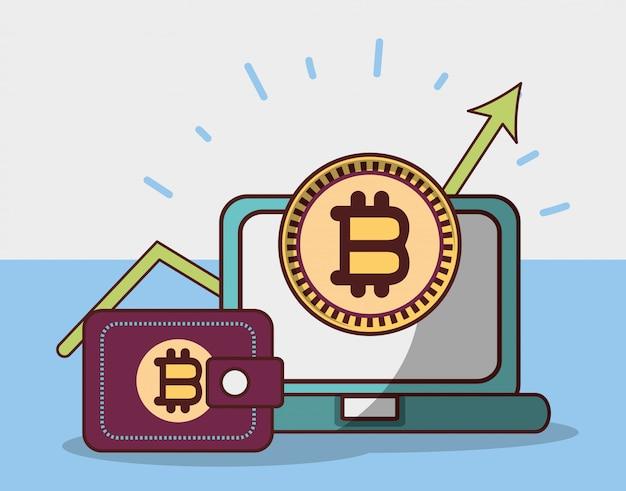 Bitcoin laptop carteira crescimento seta criptomoeda transação dinheiro digital