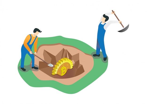 Bitcoin mineração isométrica plana concept.hic ativos relacionados