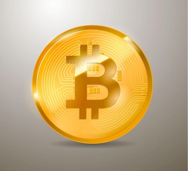 Bitcoin moeda de bit físico. moeda digital. criptomoeda. moeda de ouro com símbolo de bitcoin isolado no branco