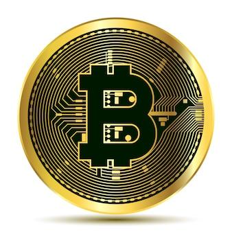 Bitcoin. moeda de bit físico. moeda digital. criptomoeda. moeda de ouro com símbolo de bitcoin isolado