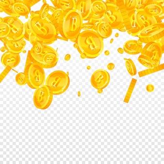 Bitcoin, moedas de internet caindo. excelentes moedas btc espalhadas. criptomoeda, dinheiro digital. conceito tentador de jackpot, riqueza ou sucesso. ilustração vetorial.