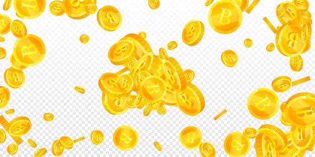Bitcoin, moedas de internet caindo. moedas btc espalhadas bonitas. criptomoeda, dinheiro digital. conceito de jackpot, riqueza ou sucesso brilhante. ilustração vetorial.