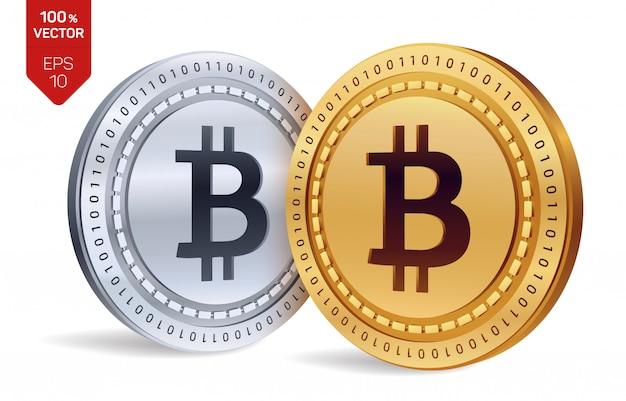 Bitcoin. moedas de ouro e prata com bitcoin isolado. criptomoeda.