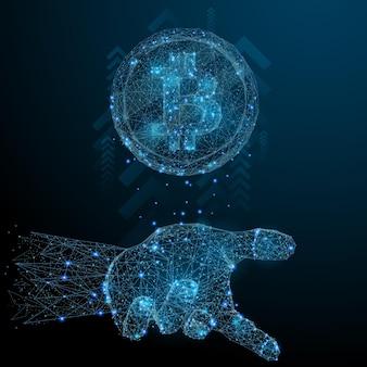 Bitcoin na palma da mão low poly wireframe imagem vetorial poligonal na forma de um céu estrelado