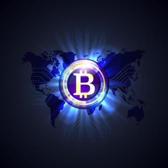 Bitcoin network world no fundo preto. ilustração vetorial