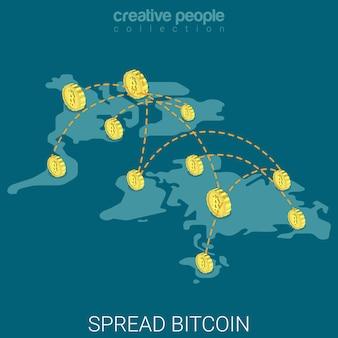 Bitcoin se espalhou em todo o mundo, economia virtual, influência isométrica plana