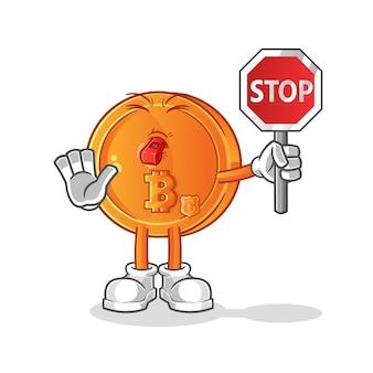 Bitcoin segurando ilustração da placa de pare