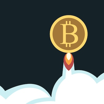 Bitcoin voando céu nuvens espaço exterior conceito de tecnologia de investimento de economia de crescimento