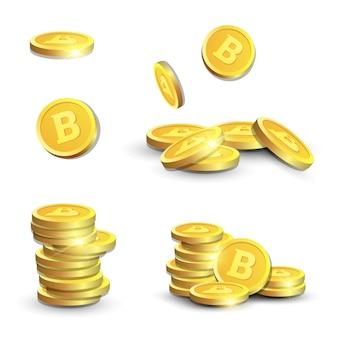 Bitcoins 3d dourado no fundo branco moedas realistas com sinal do cryptocurrency conceito dinheiro digital