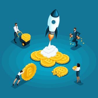 Bitcoins, conceito ico blockchain, mineração de criptomoedas, projeto de inicialização isolado, empregador empurra o dinheiro ganha