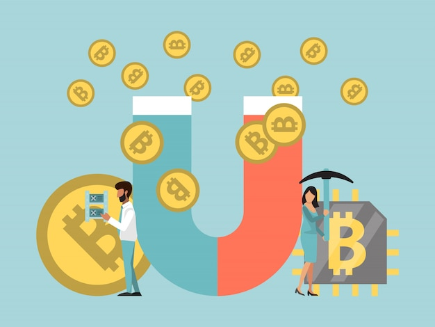 Bitcoins de mineração pela ilustração do conceito de ímã. pessoas de negócios atraindo moeda criptográfica por ímã.