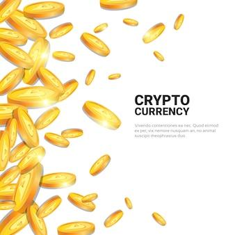 Bitcoins de ouro sobre fundo branco