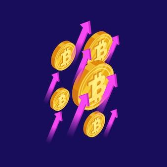 Bitcoins dourados e ilustração isométrica de setas