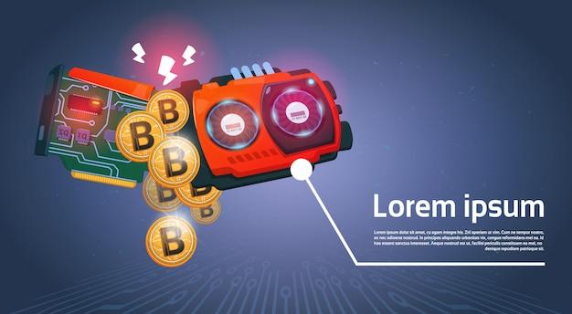 Bitcoins dourados e microchip moeda digital modern web money sobre o fundo azul escuro