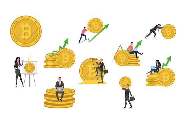 Bitcoins e flechas de executivos com ilustração de ícones de criptomoeda
