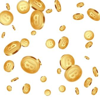 Bitcoins metálicos dourados caindo realistas 3d, sinal de criptomoeda.