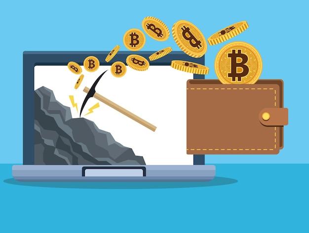 Bitcoins na carteira com picareta no design de ilustração vetorial de laptop
