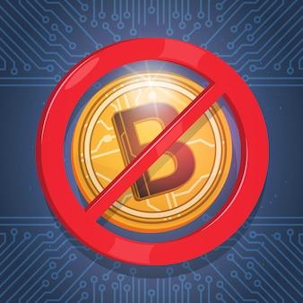 Bitcoins não aceito sinal digital crypto moeda moderna web dinheiro ícone azul circuito fundo