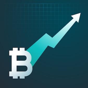 Bitcoins tendência ascendente seta de gráfico aumentando
