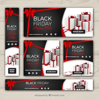 Black banners de venda de sexta feira