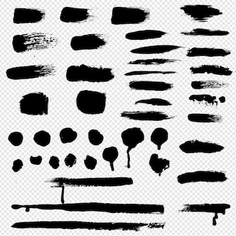 Black blobs big set background transparent,