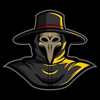 Black death plague doctor esport logo ilustração