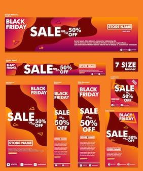 Black friday banner pacote 7 tamanho