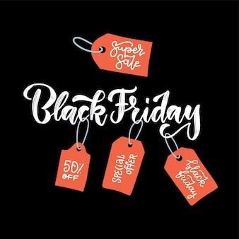 Black friday caligráfico. letras com etiquetas de preço vermelhas com textos.