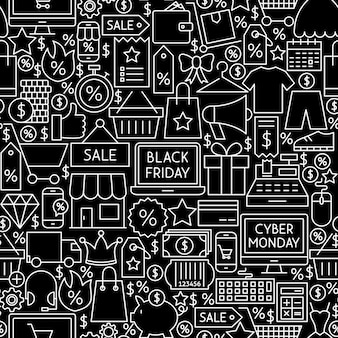 Black friday cyber monday tile pattern. ilustração em vetor de fundo de contorno de venda.