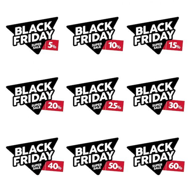 Black friday designs vector set. venda, liquidação. etiquetas com diferentes descontos