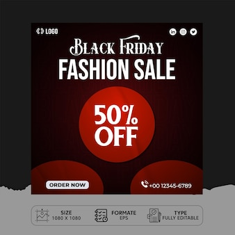 Black friday fashion sale design de postagem nas redes sociais
