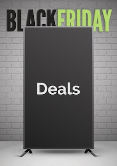 Black friday lida com modelo de banner realista de anúncio. quadro-negro 3d com tipografia no fundo da parede de tijolo. layout de pôster de anúncio de venda de compras