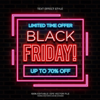 Black friday limited neon text effects