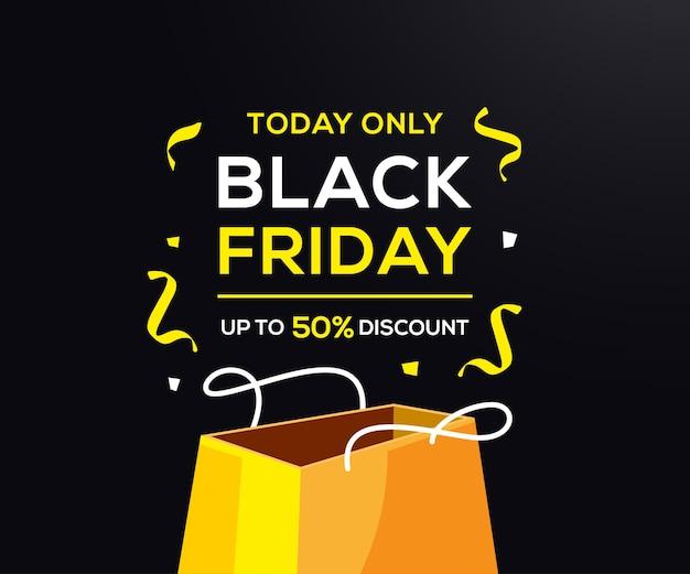 Black friday oferece banner com sacola de compras