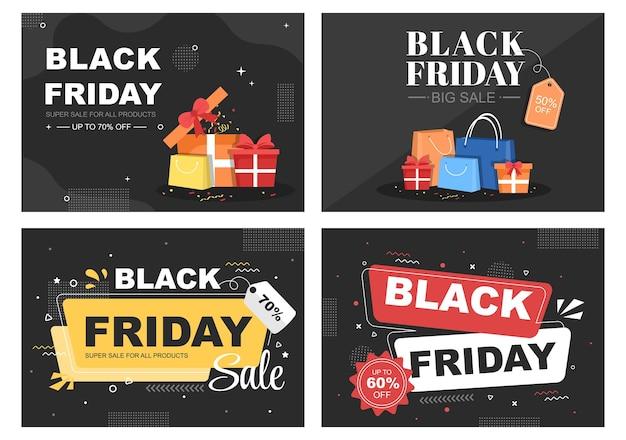 Black friday oferece grande desconto para todos os produtos de pôster, promoção ou ilustração vetorial de plano de fundo