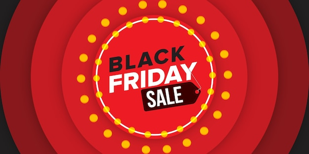 Black friday sale banner design formas circulares com luzes amarelas