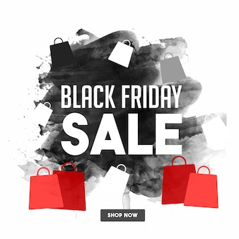 Black friday sale, banner ou flyer design com sacos de compras.