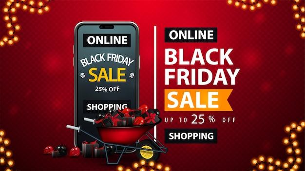 Black friday sale, compras online, até 25% de desconto, banner vermelho de desconto com carrinho de mão cheio de presentes, smartphone com oferta na tela e estilo tipográfico