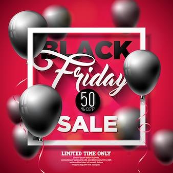 Black friday sale illustration com balões brilhantes em fundo vermelho Vetor Premium