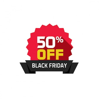 Black friday sale label vector plana dos desenhos animados