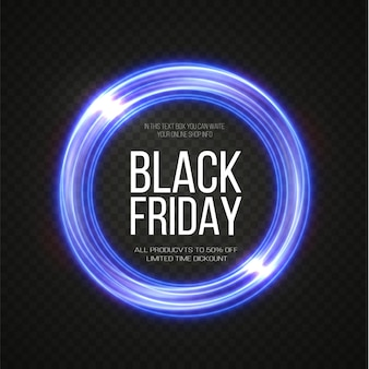 Black friday super sale moldura redonda luminosa dourada realista faixa de desconto para as festas de fim de ano